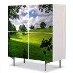 Comoda cu 4 Usi Art Work Peisaje Umbre si campie, 84 x 84 cm