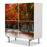 Comoda cu 4 Usi Art Work Peisaje Rosu puternic, 84 x 84 cm
