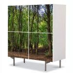 Comoda cu 4 Usi Art Work Peisaje Trunchiuri, 84 x 84 cm