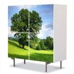 Comoda cu 4 Usi Art Work Peisaje Copac masiv, 84 x 84 cm