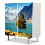 Comoda cu 4 Usi Art Work Peisaje Copacel pe stanca, 84 x 84 cm