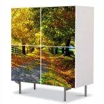 Comoda cu 4 Usi Art Work Peisaje Culori de toamna, 84 x 84 cm