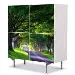 Comoda cu 4 Usi Art Work Peisaje Umbre de copaci batrani, 84 x 84 cm