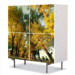 Comoda cu 4 Usi Art Work Peisaje Perspectiva copaci, 84 x 84 cm