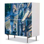 Comoda cu 4 Usi Art Work Urban Orase New York de sus, 84 x 84 cm