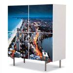 Comoda cu 4 Usi Art Work Urban Orase Coasta Australiei, 84 x 84 cm