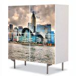 Comoda cu 4 Usi Art Work Urban Orase Priveliste Hong Kong, 84 x 84 cm