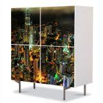 Comoda cu 4 Usi Art Work Urban Orase Turnurile Petronnas in Kuala Lumpur, 84 x 84 cm