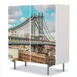 Comoda cu 4 Usi Art Work Urban Orase Podul Manhattan, 84 x 84 cm