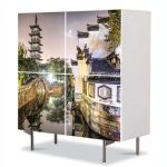 Comoda cu 4 Usi Art Work Urban Orase Shanghai China, 84 x 84 cm