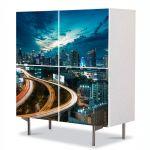Comoda cu 4 Usi Art Work Urban Orase Noaptea la oras, 84 x 84 cm