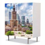 Comoda cu 4 Usi Art Work Urban Orase Palatul culturii in Varsovia Polonia, 84 x 84 cm