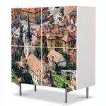Comoda cu 4 Usi Art Work Urban Orase Biserica Sf Nicolae Brasov, 84 x 84 cm