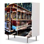 Comoda cu 4 Usi Art Work Urban Orase In San Francisco, 84 x 84 cm