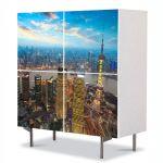 Comoda cu 4 Usi Art Work Urban Orase Apus in Shanghai China, 84 x 84 cm