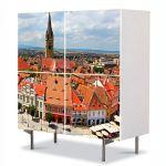 Comoda cu 4 Usi Art Work Urban Orase Panorama Sibiu, 84 x 84 cm