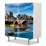 Comoda cu 4 Usi Art Work Urban Orase Opera din Sydney Australia, 84 x 84 cm