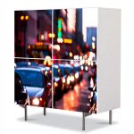 Comoda cu 4 Usi Art Work Urban Orase Trafic de seara, 84 x 84 cm