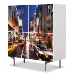 Comoda cu 4 Usi Art Work Urban Orase Strada in Tokyo, 84 x 84 cm