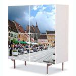 Comoda cu 4 Usi Art Work Urban Orase Centrul Brasovului, 84 x 84 cm