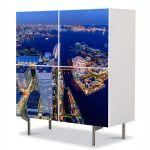 Comoda cu 4 Usi Art Work Urban Orase Yokohoma Japonia, 84 x 84 cm