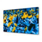 Tablou Canvas Flori Flori cu frunze albastre