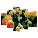 Set Tablouri Multicanvas 5 Piese Flori Gradina cu trandafiri