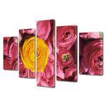 Set Tablouri Multicanvas 5 Piese Flori Floare galbena si flori violet