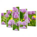 Set Tablouri Multicanvas 5 Piese Flori Flori violet salbatice