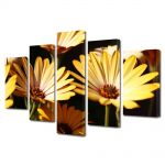 Set Tablouri Multicanvas 5 Piese Flori Galbenele