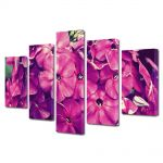 Set Tablouri Multicanvas 5 Piese Flori Fior violet