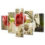 Set Tablouri Multicanvas 5 Piese Flori Trandafiri in cana