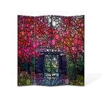Paravan de Camera ArtDeco din 4 Panouri Abstract Decorativ Cercuri in natura 140 x 150 cm