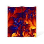 Paravan de Camera ArtDeco din 4 Panouri Abstract Decorativ Frunze exotice 140 x 150 cm
