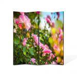 Paravan de Camera ArtDeco din 4 Panouri Peisaj Trandafiri roz 140 x 180 cm