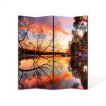 Paravan de Camera ArtDeco din 4 Panouri Peisaj Toamna pe lac 140 x 180 cm