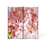 Paravan de Camera ArtDeco din 4 Panouri Peisaj Flori de gutui 140 x 180 cm