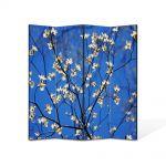 Paravan de Camera ArtDeco din 4 Panouri Peisaj Flori albastru intens 105 x 150 cm