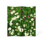 Paravan de Camera ArtDeco din 4 Panouri Peisaj Flori diverse 140 x 180 cm