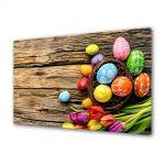 Tablou Canvas Sarbatori Paste Oua colorate si flori de sezon