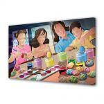 Tablou Canvas Sarbatori Paste Copii care picteaza oua