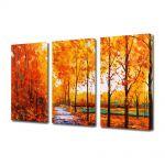 Set Tablouri Multicanvas 3 Piese Peisaj Drum printre copaci