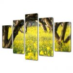 Set Tablouri Multicanvas 5 Piese Peisaj Floricele sub copaci
