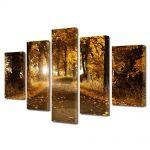 Set Tablouri Multicanvas 5 Piese Peisaj Drum de toamna
