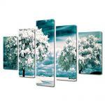 Set Tablouri Canvas 5 Piese Peisaj Copaci albi