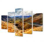 Set Tablouri Multicanvas 5 Piese Peisaj Drum pe munte