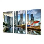 Set Tablouri Multicanvas 3 Piese Orasul Singapore