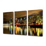 Set Tablouri Multicanvas 3 Piese Vancouver Canada Noaptea