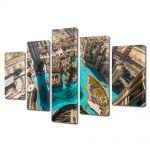 Set Tablouri Multicanvas 5 Piese Dubai la inaltime
