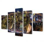 Set Tablouri Multicanvas 5 Piese Privire de ansamblu asupra New York